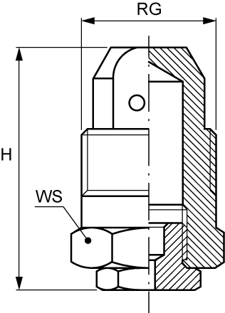 RB Hollow Cone Nozzle - In line spray, vanelss, wide passage