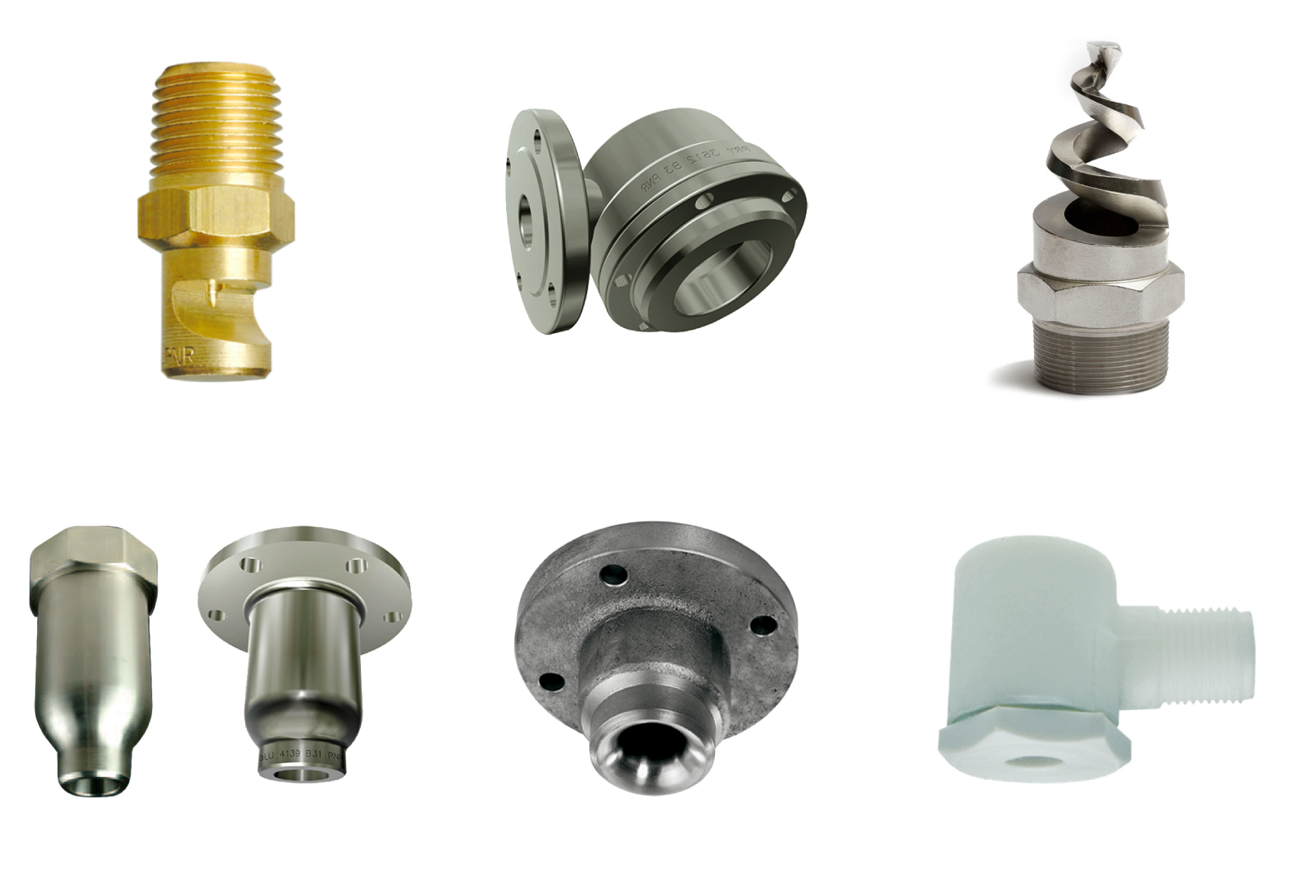 Nozzles for metals industry to cool hot and