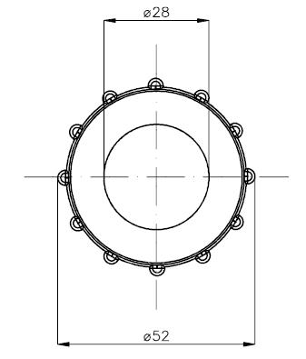 VAB technical drawing plastic locknuts disegno tecnico ghiera plastica